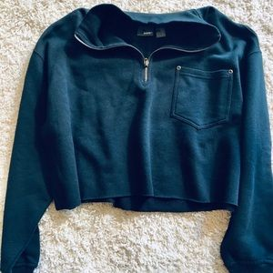cropped quarter zip up